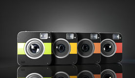 Group of colorful squared cameras. 3d illustration Royalty Free Stock Photos