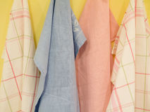 Group of colorful Tablecloth on hanger Royalty Free Stock Photos
