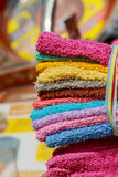 Group of colorful towels for sale the street market Stock Photography