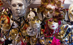 Group of colorful Venetian carnival masks Stock Photos