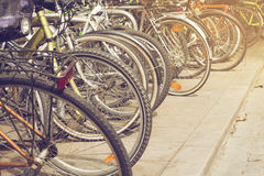 Group of colorful vintage bicycles parked on a row in Born, Barc Stock Image