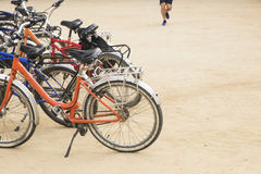 Group of colorful vintage bicycles parked on a row in Citadel Pa Stock Photography