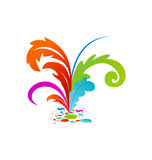 Group colouful artistic feathers with ink Royalty Free Stock Photo
