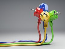 Group colour electric plug with long wires. Isolated on a grey background 3d illustration. Power line concept stock photo