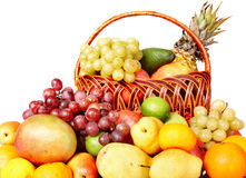Group of colour fruit in basket. Royalty Free Stock Images