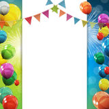 Group of Colour Glossy Helium Balloons Background. Set of  Balloons and Flags for Birthday, Anniversary, Celebratio. N  Party Decorations. Vector Illustration Stock Photo