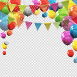Group of Colour Glossy Helium Balloons with Blank Page Isolated. On Transparent Background. Vector Illustration EPS10r Royalty Free Stock Image