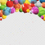 Group of Colour Glossy Helium Balloons with Blank Page Isolated. On Transparent Background. Vector Illustration EPS10r Royalty Free Stock Photos