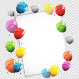 Group of Colour Glossy Helium Balloons with Blank Page  Royalty Free Stock Photos