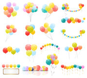 Group of Colour Glossy Helium Balloons Isolated on Transperent  Background. Set of  Balloons and Flags for Birthd. Ay, Anniversary, Celebration  Party Royalty Free Stock Photography