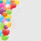 Group of Colour Glossy Helium Balloons Isolated on Transperent  Background. Set of  Balloons and Flags for Birthd. Ay, Anniversary, Celebration  Party Royalty Free Stock Image
