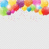 Group of Colour Glossy Helium Balloons Isolated on Transperent  Background. Set of  Balloons and Flags for Birthd. Ay, Anniversary, Celebration  Party Royalty Free Stock Photo