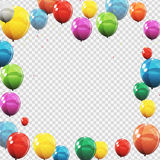 Group of Colour Glossy Helium Balloons Isolated on Transperent Royalty Free Stock Photo