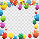 Group of Colour Glossy Helium Balloons Isolated on Transperent Royalty Free Stock Image