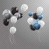 Group of Colour Glossy Helium Balloons Isolated on Transperent  Background. Set of Silver, Black, Blue, White wit. H Confetti Balloons for Birthday, Anniversary Royalty Free Stock Photos