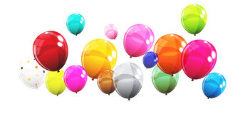 Group of Colour Glossy Helium Balloons Isolated on White Backgro Stock Photography