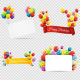 Group of Colour Glossy Helium Balloons with Ribbon  on T Royalty Free Stock Image
