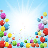 Group of Colour Glossy Helium Balloons  on Sky Natural B Stock Photos