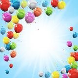 Group of Colour Glossy Helium Balloons  on Sky Natural B. Ackground. Vector Illustration EPS10 Stock Images