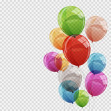 Group of Colour Glossy Helium Balloons  on Transparent B Stock Image