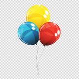 Group of Colour Glossy Helium Balloons  on Transparent B Stock Photo