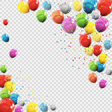Group of Colour Glossy Helium Balloons  on Transparent B Stock Images