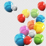 Group of Colour Glossy Helium Balloons  on Transparent B Stock Photos