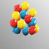 Group of Colour Glossy Helium Balloons  on Transparent B Stock Photography