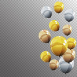 Group of Colour Glossy Helium Balloons  on Transparent B Royalty Free Stock Image