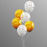 Group of Colour Glossy Helium Balloons  on Transparent B. Ackground. Vector Illustration EPS10 Stock Photos
