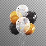 Group of Colour Glossy Helium Balloons  on Transparent B. Ackground. Vector Illustration EPS10 Royalty Free Stock Image