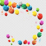 Group of Colour Glossy Helium Balloons  on Transperent  Background. Set of  Balloons for Birthday, Anniversa. Ry, Celebration  Party Decorations. Vector Stock Photos