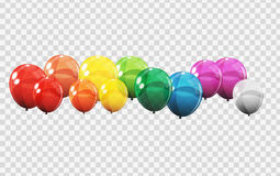 Group of Colour Glossy Helium Balloons  on Transperent  Background. Set of  Balloons for Birthday, Anniversa. Ry, Celebration  Party Decorations. Vector Royalty Free Stock Photography