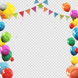 Group of Colour Glossy Helium Balloons  on Transperent  Background. Set of  Balloons and Flags for Birthd. Ay, Anniversary, Celebration  Party Decorations Stock Photo