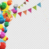 Group of Colour Glossy Helium Balloons  on Transperent  Background. Set of  Balloons and Flags for Birthd. Ay, Anniversary, Celebration  Party Decorations Stock Photography