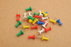Group of colour push pins Stock Photography