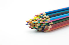 Group of colour wooden pencil on white background Stock Images