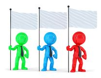 Group of coloured businesspeople with flags. Isolated. Contains clipping path Stock Image