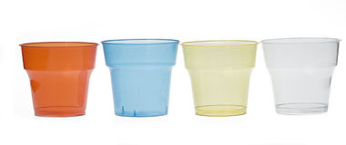 Group of colourful plastic glasses Stock Photography