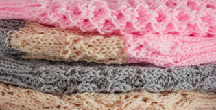 Group of colourful wool hat as background. Royalty Free Stock Image