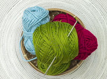 Group of colourfull skeins of wool Royalty Free Stock Photo