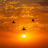Group combat helicopters, Mi-24, Mi-8, warm sunset Royalty Free Stock Photos
