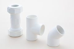 Group of combined fittings for PVC pipes Royalty Free Stock Photo