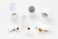 Group of combined fittings for PVC pipes Stock Photography