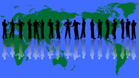 Group communication. Illustration of the different group of people communication pose with world map background Stock Images