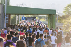 Group of commuters at metro exit in Medellin, Colombia Royalty Free Stock Photography