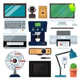 Group computer office equipment. Laptop, monitor, tablet pc, smartphone, printer keyboard, photo camera, mouse. Office. Computer office equipment technic gadgets Stock Image