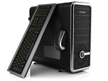 Group of computing tower box, keyboard and mouse Royalty Free Stock Image