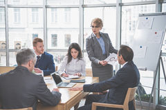 Group of confident people at briefing royalty free stock photography