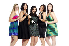 Group of confident young woman celebrating Royalty Free Stock Photos
